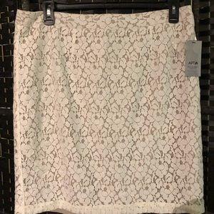 NWT orig $44 lace look APT9 cream skirt 16 xl 1x